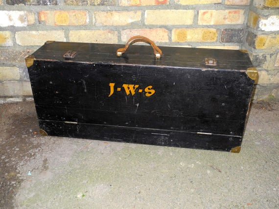 Vintage Sign Writers Tool Box Hand Painted Initials J.W.S