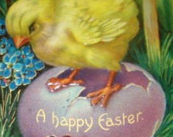Cute Embossed Vintage Easter Postcard (Chicks)