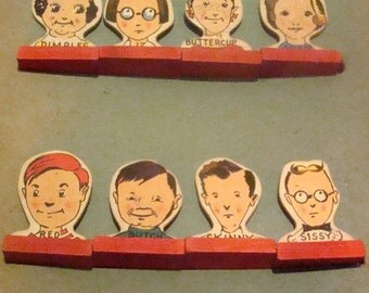 8 Children Markers from Vintage Head Of The Class Board Game (1940's)