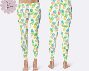 Pineapple Leggings, Tropical Leggings, Food Leggings, Unique Leggings, Printed Leggings, Yoga Pants, Womens Leggings, Funny Leggings