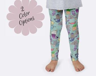 MerKitten Leggings, Mermaid Cats Leggings, Mermaid Leggings, Unique Leggings, Print Leggings, Girls Leggings, Kids Leggings, Funny Leggings