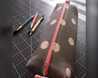 Zippered Pencil Pouch (grey with white polka dots)