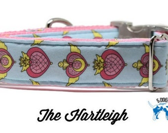 Sailor Moon Heart Dog Collar, Martingale collar, Martingale Buckle, Metal Buckle Dog Collar, The Hartleigh Custom Dog Collar