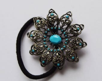 Turquoise Vintage Hair tie Turquoise hair elastic Collectible hair tie Wedding hair jewelry