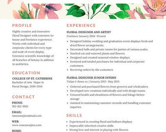Resume Examples References Floral Resume  Etsy Template For Resume Word with Example Resume Templates Excel Colorful Floral Resume  Pdf Format Summary Statement Resume Examples Pdf