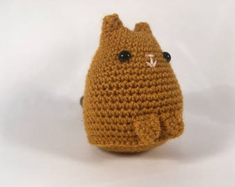 Crocheted Gold/Brown Dumpling Cat