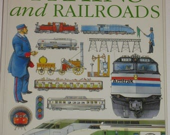 TRAINS and RAILROADS- Vintage Children's Book