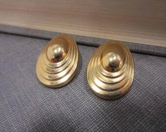 Gold-Tone Christian Dior Clip Back Earrings