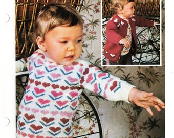 Baby Jumper Knitting Patterns, Baby Sweater Knitting Patterns Heart Pattern Baby Pullover Pattern 80s knitting vintage baby knitting pattern