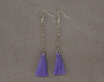 Purple Drop Tassel Earrings