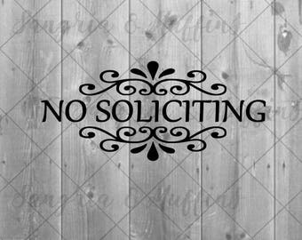 "No Soliciting with flourish door/screen door/wall vinyl decal - 9"" x 4"" OR 11"" x 5"" - multiple colors available"