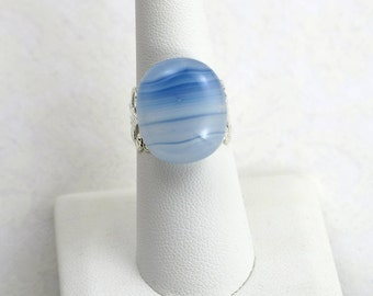 Sea Wave Fused Glass Filigree Ring   Inspired By Disney's Old Key West Resort (Item #365)