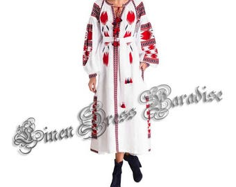 Bohemian Linen Vyshyvanka Dress With Pockets Boho Style Ukraine Dress Maxi Ethnic Embroidery Mexican Dress Valentine's Day Gifts Boho Dress