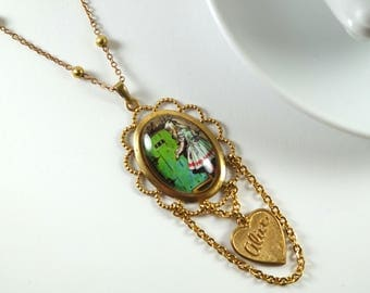 Alice Necklace Pendant, Wonderland Illustration Oval Cameo Vintage Heart Charm Altered Art Brass Jewelry Literary Gift by NotAliceBoutique