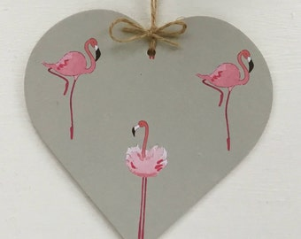 Flamingo Print~  Decoupaged Hanging Heart/Gift Tag ~  Home Decor Birthday Christmas Secret Santa Gift Flamingo 10cm/8cm