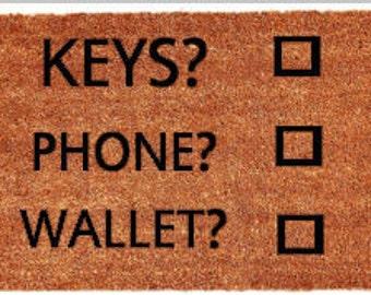 Keys Phone Wallet Checklist Doormat