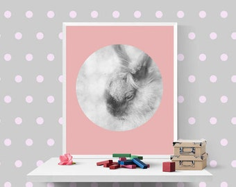 Pink grey wall art Bunny print Pastel hoop decor Woodland animals Printables  DIY Home decors Nursery forrest animal Kids room poster Photo
