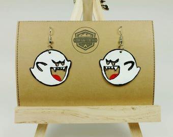 Boo Earrings - Ghost Earrings - Halloween Earrings - Boo Buddies - Super Mario Earrings - Glow in the Dark Jewelry -Gamer Geek -Hand Painted