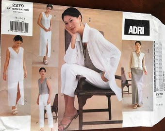 Vogue ADRI #2279 Pattern Jacket, Dress, Top, Skirt and Pants Size 14, 16, 18