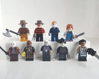 Horror Minifigures or Keyrings Michael Myers Freddy Krueger Scissorhands Pinhead Chucky Candyman Jason Voorhees Jeepers Creepers Leatherface