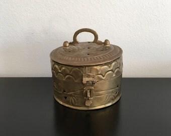 Vintage, Brass Incense Burner, Brass, Incense Burner, Brass Decor, Trinket Box,Indian Brass,Bohemian Decor, Boho,Embossed Brass,Home Decor