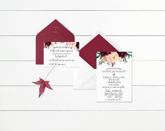 Printable Wedding Invitation, Floral Wedding Invites, Infographic Invitation Template