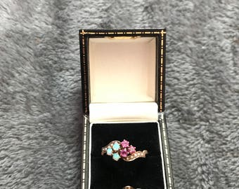 Antique Victorian Opal Ruby & Pearl Ring