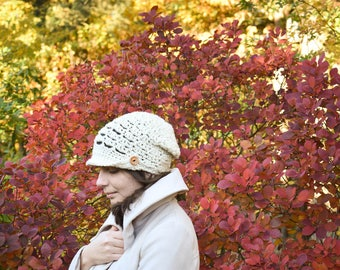 White Crocheted Hat - 100% Wool, Size S/ M, Design by Drops, Crocheted Winter Cap, White Wool Hat, Lace Hat, White Beanie