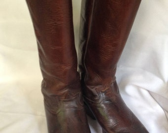 Tony  Lama Brown Tall Leather Boots Style #6296