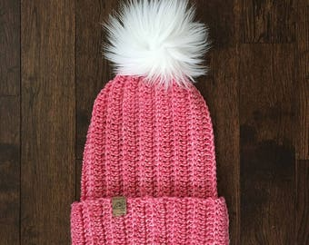 WEST COAST BEANIE // Heather Pink // Hand Crochet Hat // Folded Brim Hat // Faux Fur Pom Pom  // Crochet Hat