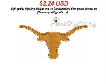 Texas Longhorns Logo Machine Embroidery Design 3 Sizes