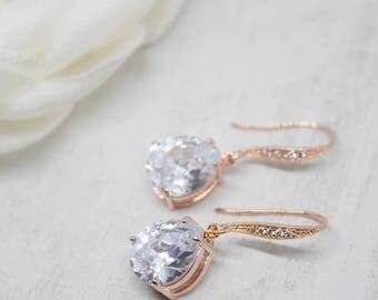 Rose gold earrings wedding jewelry Bridal Jewelry Wedding