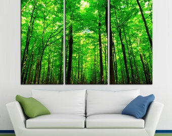 Green forest and top of the trees Large Photoprint Multi Panel Canvas Print, Nature Wall Art Decoration Extra Large Print Ready to Hang