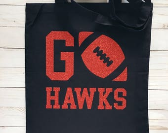 School Spirit Tote | School Mascot - Canvas Tote Bag | Reusable Grocery Bag | Gift under 20 - Go Hawks Eagles Bulldogs Tigers Lions Cougars