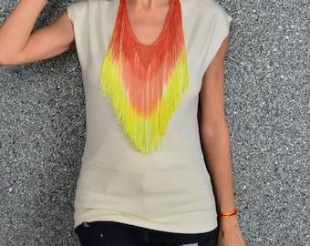 Burning man necklace, tribal necklace, gypsy necklace, hippie necklace, ethnic necklace, statement necklace, bib necklace, coral necklace