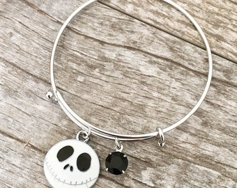 Jack Skellington The Nightmare Before Christmas Inspired Bangle Charm Bracelet With Swarovski Crystal