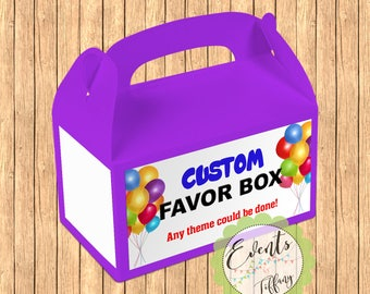 Customized - Personalized Favor Box,  Customized - Personalized  Inspired Treat Box, Customized - Personalized Party Boxes - Set of 12