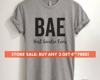 Best Auntie Ever BAE T-shirt, Ladies Unisex T-shirt, Aunt T-shirt, Gift for Aunt, Unisex, Short & Long Sleeve T-shirt