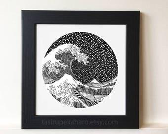 "15%OFF with code ""WINTER"" The Great Wave. Kanagawa. Print. Art. Famous Painting. Katsushika Hokusai. Japan. Classic Art. Dots. ©"