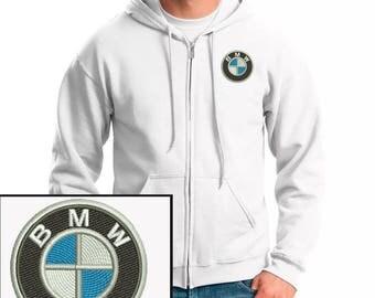 Bmw Logo Emboidered Hoodie White Full-Zip Hooded Sweatshirt New
