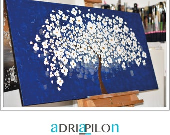 SALE  large abstract tree painting on canvas original 48''x''24 art texture blue white 3d art decoraction modern