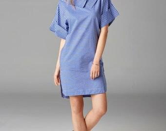 Stripe Boat Neck Dress   White Blue Cotton