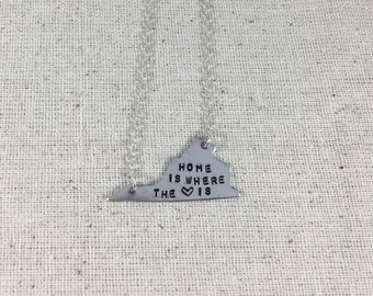 Virginia Home is where the heart is Necklace, boho, home, state, copper, enameled, aluminum, silver, hand stamped