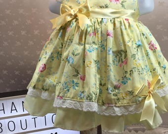 Baby lemon dress etsy hannahs boutique 0 3 month baby girl spanish lemon floral print lined sleeveless dress negle Gallery