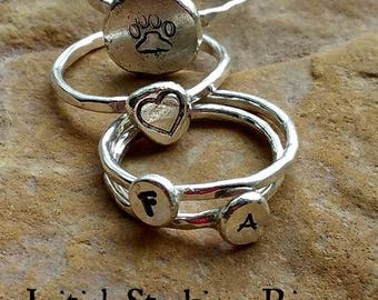 Petite Personalized Stacking Ring in Silver, add to a Memorial Ring or wear alone