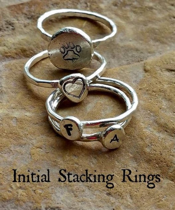 Initial Stack Ring in Sterling Silver