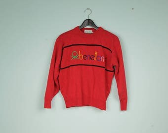 vintage benetton sweater red sweater pullover big logo sweater