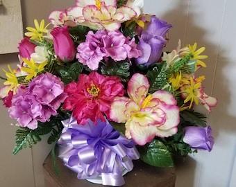 Hanging Basket Cemetery Silk Flowers