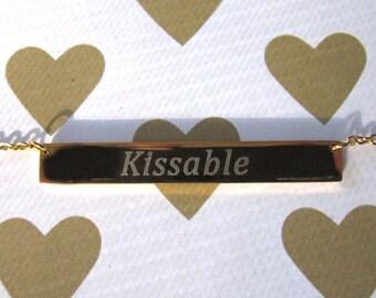 "Very Modern Gold ""Kissable"" Bar Charm Necklace"