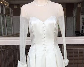 Vintage Wedding Dress with Sheer Sleeves #309